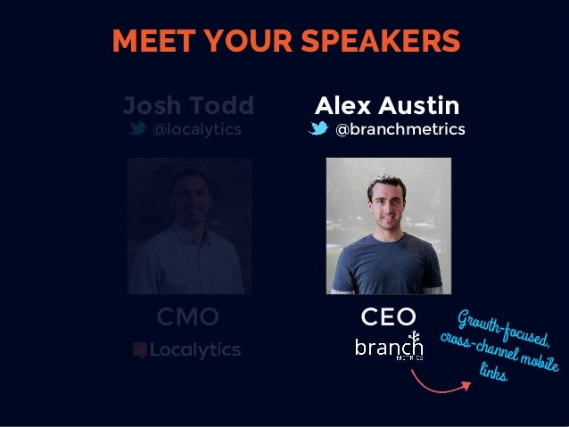Josh Todd @localytics CMO  CEO Alex Austin @branchmetrics Growth-focused,cross-channel mobilelinks MEET YOUR SPEAKERS