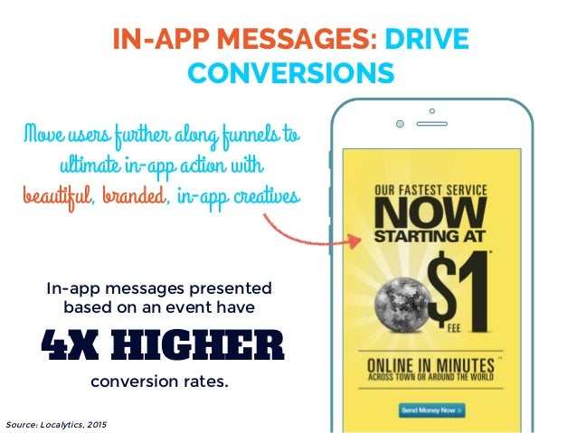 IN-APP MESSAGES: DRIVE CONVERSIONS Move users further along funnels to ultimate in-app action with beautiful, branded, in-...