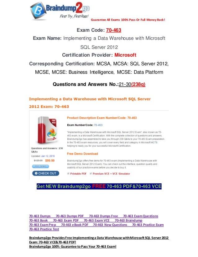 Pdfampvcebraindump2go 70 463 Exam Questions 21 30