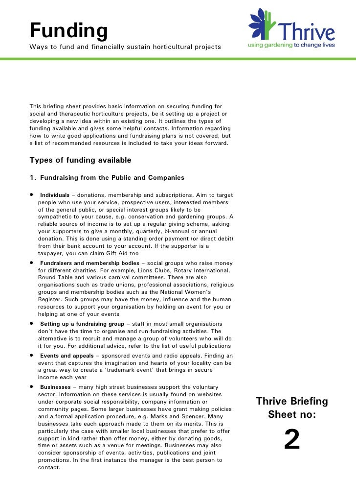 Funding Ways to fund and financially sustain horticultural projects     This briefing sheet provides basic information on ...