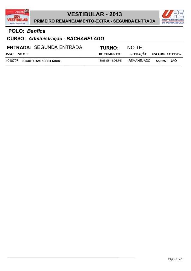 NOME DOCUMENTO Administração - BACHARELADO VESTIBULAR - 2013 BenficaPOLO: PRIMEIRO REMANEJAMENTO-EXTRA - SEGUNDA ENTRADA I...