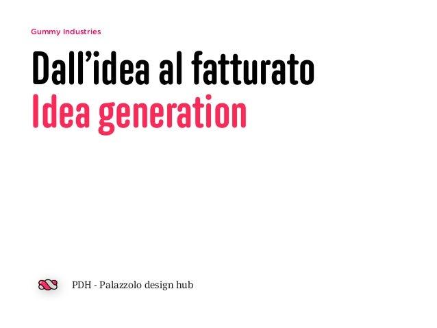 Gummy Industries  Dall'idea al fatturato  Idea generation  PDH - Palazzolo design hub