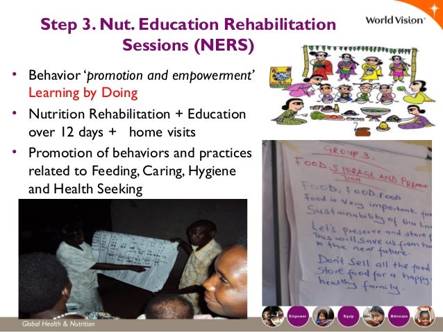 Step 3. Nut. Education Rehabilitation Sessions (NERS) • Behavior 'promotion and empowerment' Learning by Doing • Nutrition...