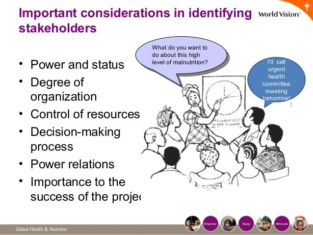 Important considerations in identifying stakeholders • Power and status • Degree of organization • Control of resources • ...