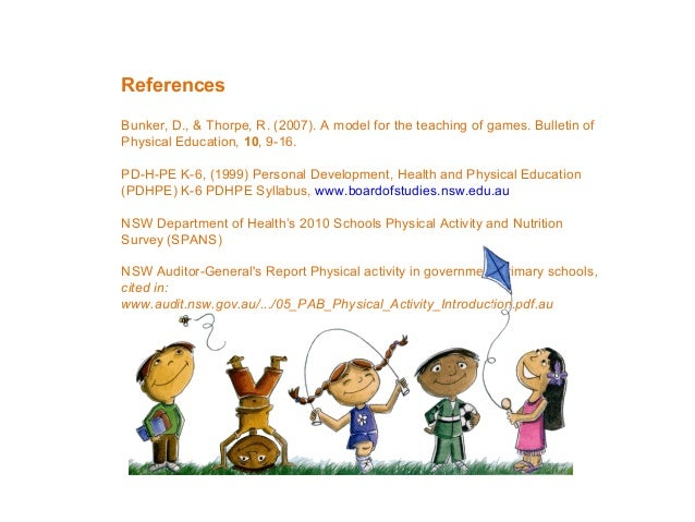 References Bunker, D., & Thorpe, R. (2007). A model for the teaching of games. Bulletin of Physical Education, 10, 9-16. P...