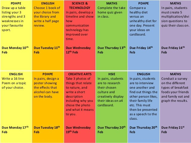 pdhpe homework grid