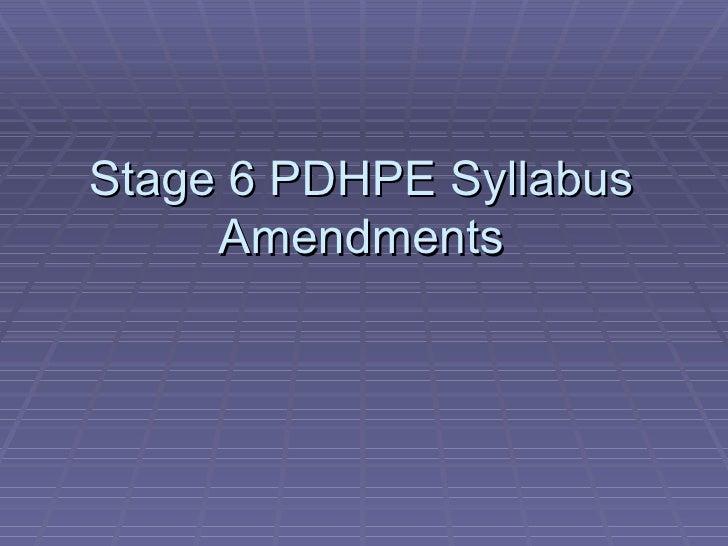 Stage 6 PDHPE Syllabus Amendments