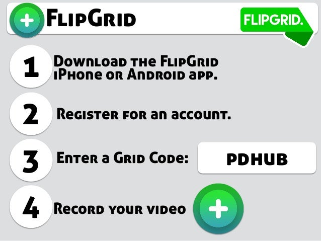 FlipGrid 1 Download the FlipGrid iPhone or Android app. 2 3 Register for an account. Enter a Grid Code: 4 Record your vide...