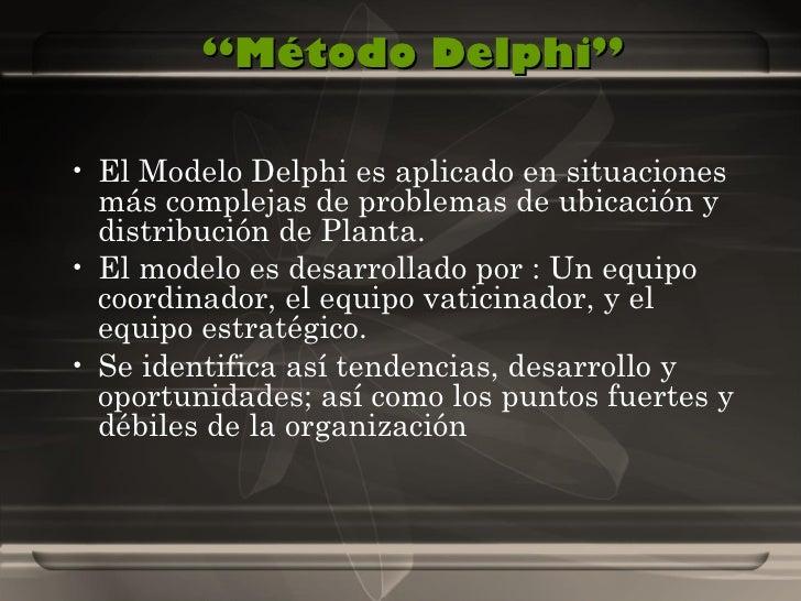 """"""" Método Delphi"""" <ul><li>El Modelo Delphi es aplicado en situaciones más complejas de problemas de ubicación y distribució..."""