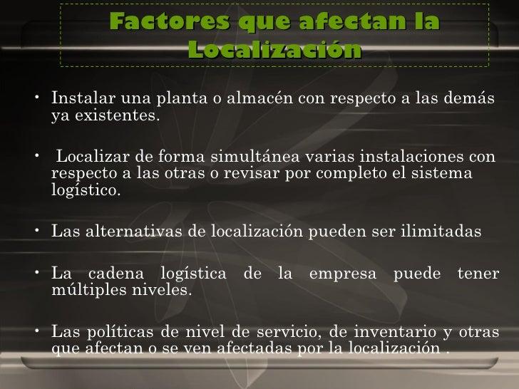 Factores que afectan la Localización <ul><li>Instalar una planta o almacén con respecto a las demás ya existentes. </li></...