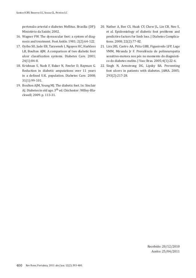 Rev Rene, Fortaleza, 2011 abr/jun; 12(2):393-400.Santos ICRV, Bezerra GC, Souza CL, Pereira LC400pertensão arterial e diab...