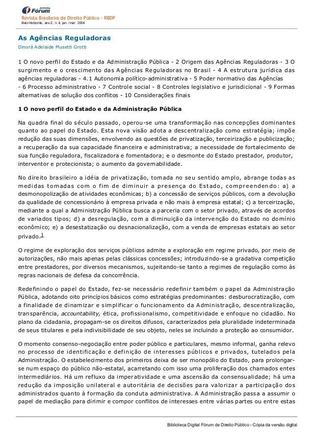 AsAgênciasReguladoras DinoráAdelaideMusettiGrotti  1OnovoperfildoEstadoedaAdministraçãoPública2Origemd...