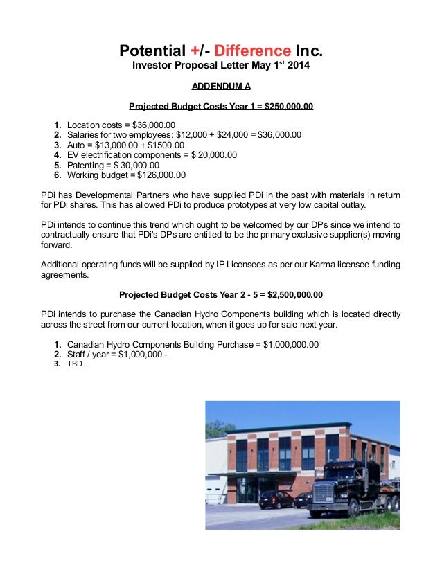 9 potential difference inc investor proposal letter