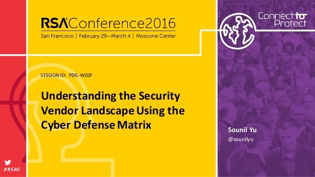 SESSION	   ID: #RSAC Sounil	   Yu Understanding	   the	   Security	    Vendor	   Landscape	   Using	   the	    Cyber	   De...