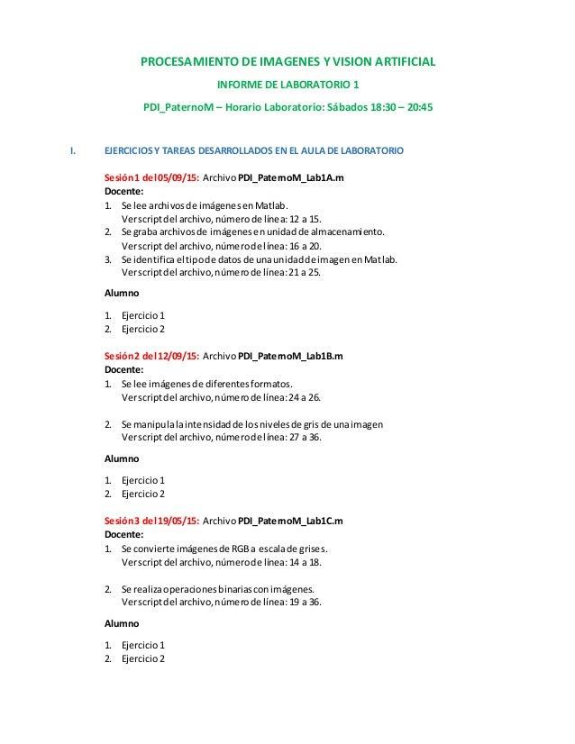 PROCESAMIENTO DE IMAGENES Y VISION ARTIFICIAL INFORME DE LABORATORIO 1 PDI_PaternoM – Horario Laboratorio: Sábados 18:30 –...