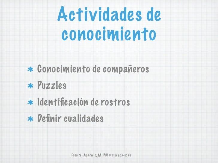Actividades de     conocimientoConocimiento de compañerosPuzzlesIdentificación de rostrosDefinir cualidades          Fuente:...