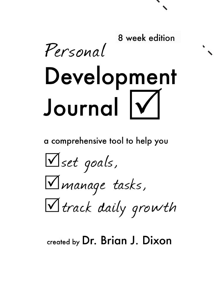 Personal Development Journal Sample. 1 Copyright ...  Personal Development Example