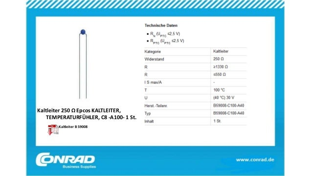 Kaltleiter 250 Ω Epcos KALTLEITER, TEMPERATURFÜHLER, C8 -A100- 1 St. Kaltleiter B 59008