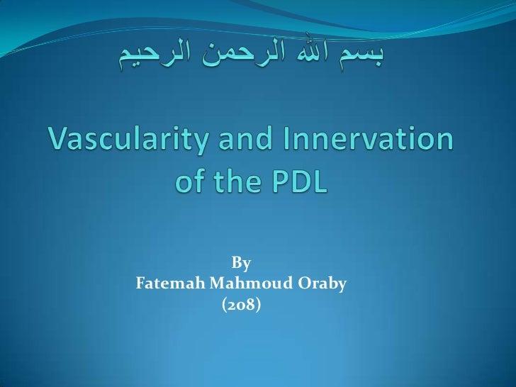 بسم الله الرحمن الرحيمVascularity and Innervation of the PDL<br />ByFatemah Mahmoud Oraby(208)<br />