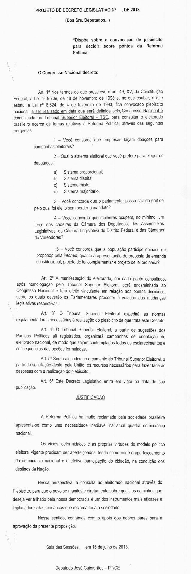Projeto de lei apresentado por deputado do PT pede convocação de plebiscito para reforma política e propõe perguntas