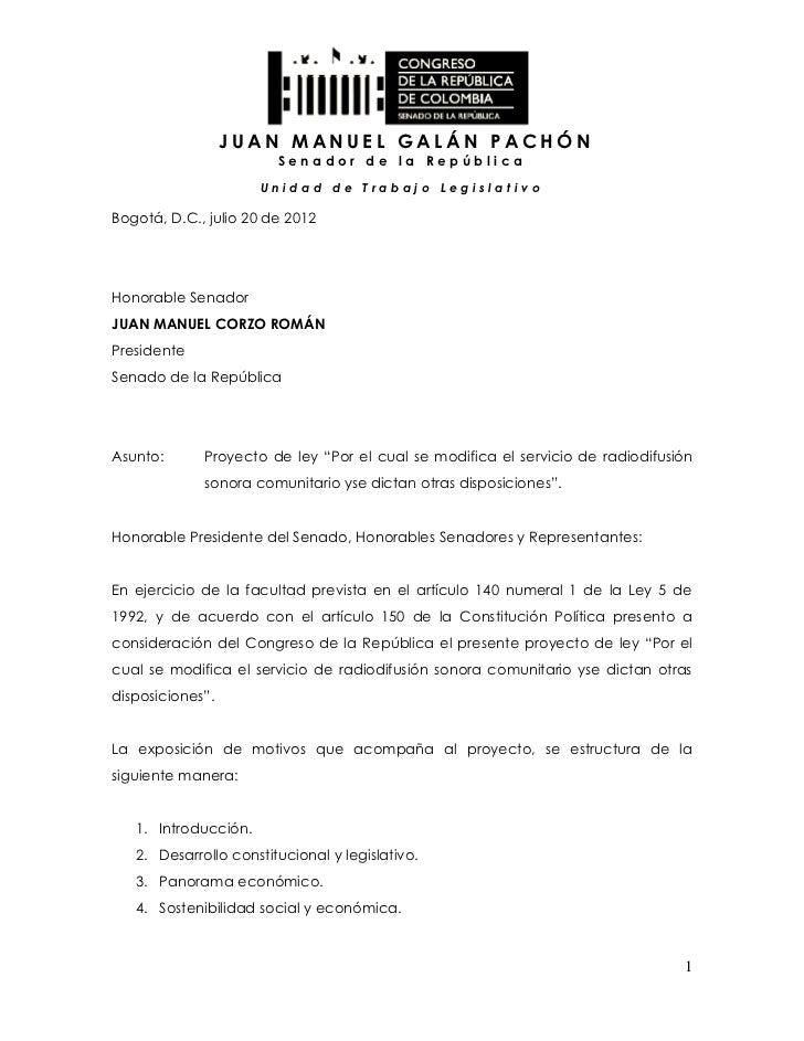 JUAN MANUEL GALÁN PACHÓN                        Senador de la República                      Unidad de Trabajo Legislativo...