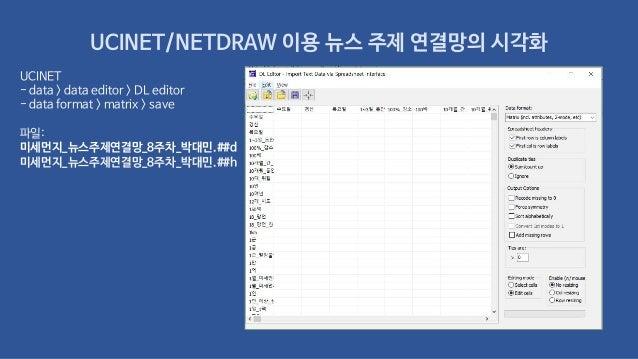 UCINET/NETDRAW 이용 뉴스 주제 연결망의 시각화 UCINET - data > data editor > DL editor - data format > matrix > save 파일: 미세먼지_뉴스주제연결망_8주...