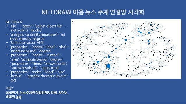 NETDRAW 이용 뉴스 주제 연결망 시각화 NETDRAW - 'file' – 'open'- 'ucinet dl text file' – 'network (1-mode)' - 'analysis centrality meas...