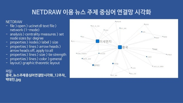 NETDRAW 이용 뉴스 주제 중심어 연결망 시각화 NETDRAW - file > open > ucinet dl text file > network (1-mode) - analysis > centrality measur...