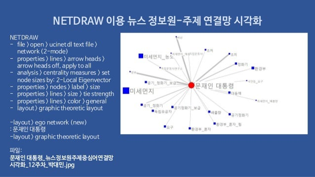 NETDRAW 이용 뉴스 정보원-주제 연결망 시각화 NETDRAW - file > open > ucinet dl text file > network (2-mode) - properties > lines > arrow h...