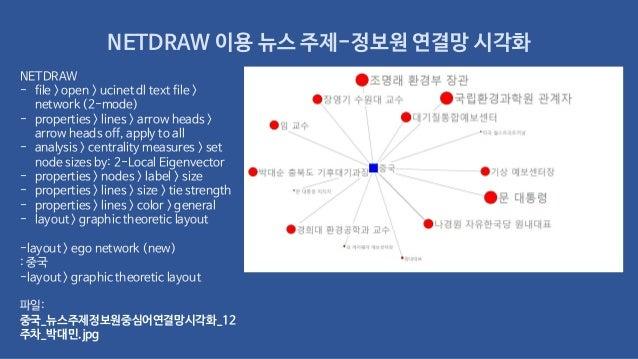 NETDRAW 이용 뉴스 주제-정보원 연결망 시각화 NETDRAW - file > open > ucinet dl text file > network (2-mode) - properties > lines > arrow h...