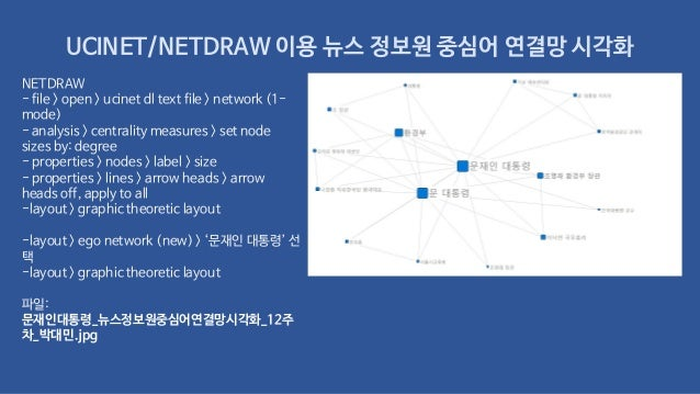 UCINET/NETDRAW 이용 뉴스 정보원 중심어 연결망 시각화 NETDRAW - file > open > ucinet dl text file > network (1- mode) - analysis > centrali...