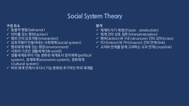 Social System Theory 설계 방식  첫째, 하위 체계 내의 고유 기능에 대한 분석에 집중하고 다 른 하위 체계의 영향을 외생변수로 취급하는 것이다. 문제 를 더 간단히 하기 위해서 이 외생변수를 불변의 ...