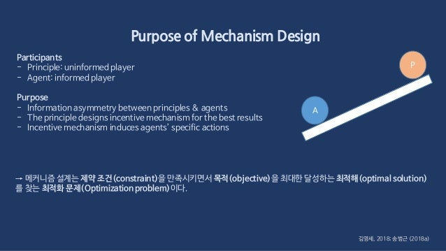 Purpose of Mechanism Design 김영세, 2018; 송범근 (2018a) Participants - Principle: uninformed player - Agent: informed player Pu...