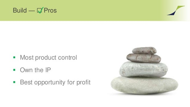 Build — ☐ Pros✓  Most product control  Own the IP  Best opportunity for profit