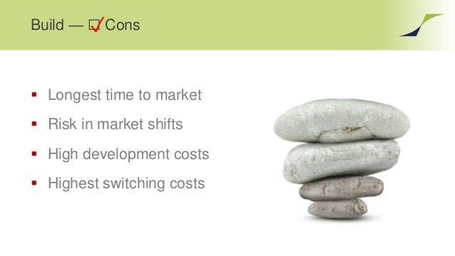 Build — ☐ Cons  Longest time to market  Risk in market shifts  High development costs  Highest switching costs ✓