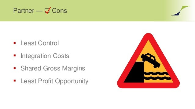 Partner — ☐ Cons  Least Control  Integration Costs  Shared Gross Margins  Least Profit Opportunity ✓