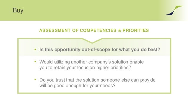 Buy ASSESSMENT OF COMPETENCIES & PRIORITIES  Is this opportunity out-of-scope for what you do best?  Would utilizing ano...