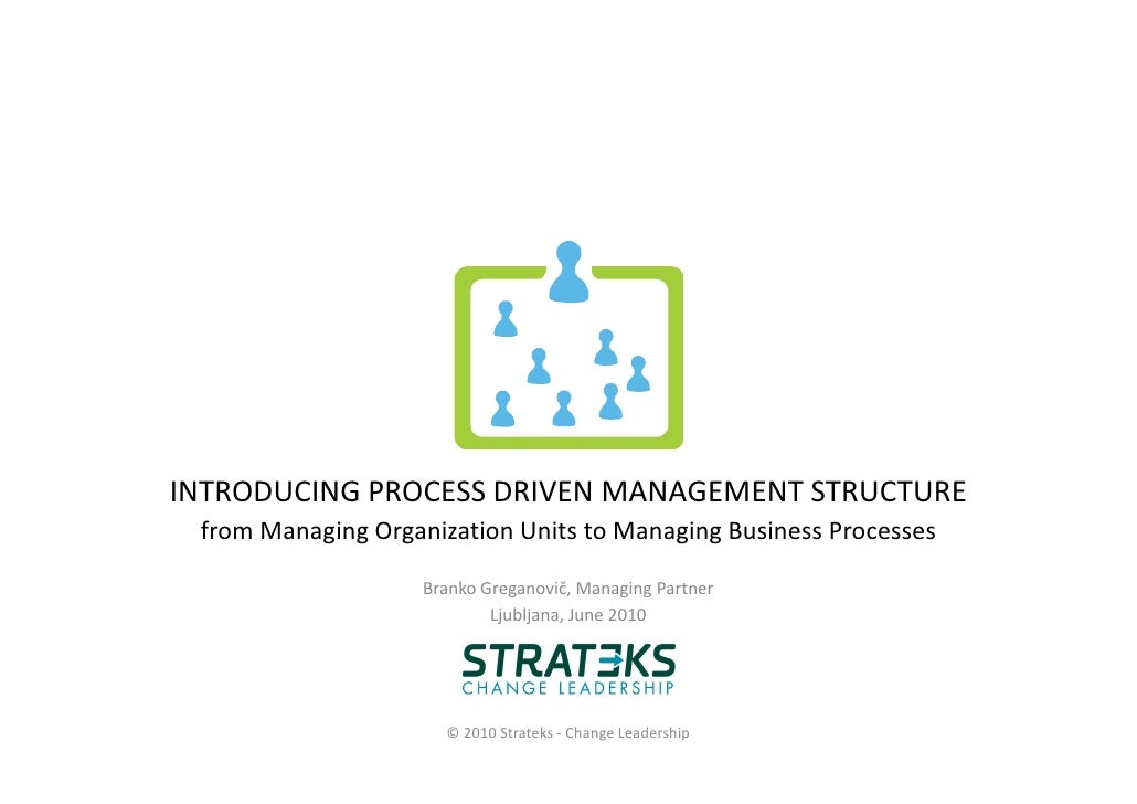 INTRODUCING PROCESS DRIVEN MANAGEMENT STRUCTURE  from Managing Organization Units to Managing Business Processes          ...