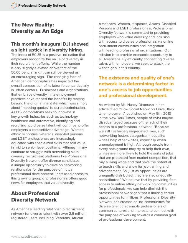 The inaugural Professional Diversity Network Diversity Jobs Index and…