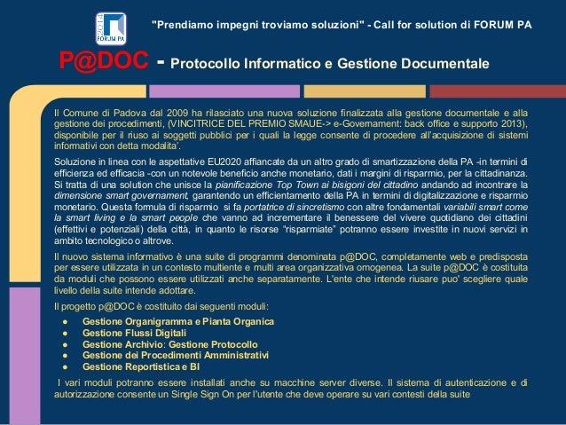 """""""Prendiamo impegni troviamo soluzioni"""" - Call for solution di FORUM PA Il Comune di Padova dal 2009 ha rilasciato una nuov..."""