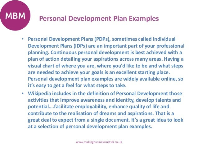 Personal Development Plans - Personal business plan template