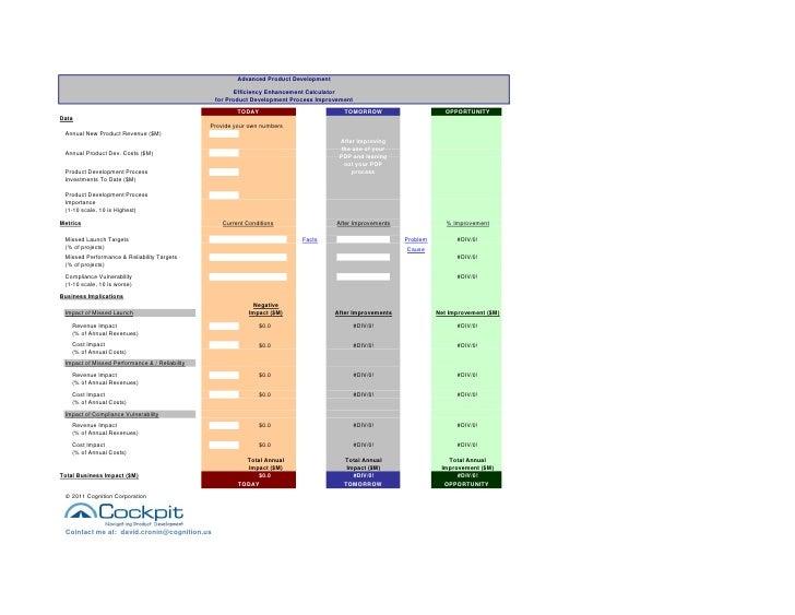 Advanced Product Development                                                       Efficiency Enhancement Calculator      ...