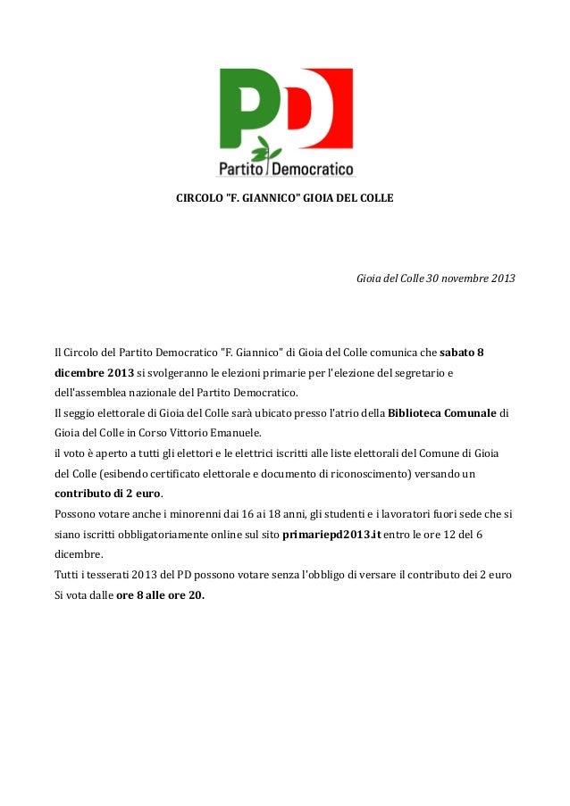 """CIRCOLO  """"F.  GIANNICO""""  GIOIA  DEL  COLLE         Gioia  del  Colle  30  novembre  2013   ..."""