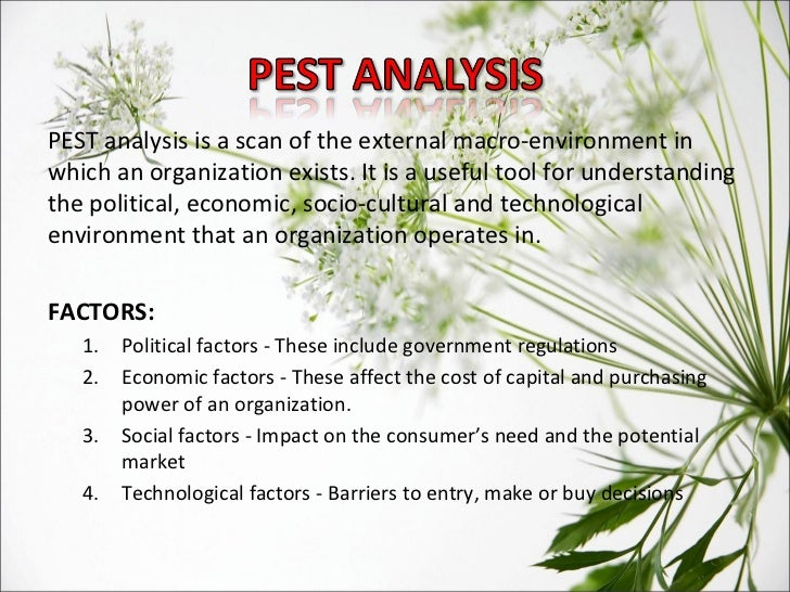 pest analysis the sociocultural environment The macro environment – pestle analysis a pestle analysis is a useful tool to help you consider the potential impact of influences in the macro-environment it allows you to identify possible key changes in the outside world, in a structured mannner.