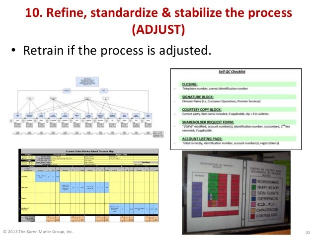 © 2013 The Karen Martin Group, Inc. 10. Refine, standardize & stabilize the process (ADJUST) • Retrain if the process is a...