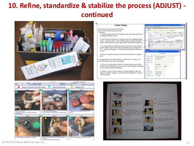 © 2013 The Karen Martin Group, Inc. 10. Refine, standardize & stabilize the process (ADJUST) - continued 21