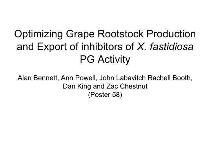 Optimizing Grape Rootstock Production and Export of inhibitors of  X. fastidiosa  PG Activity Alan Bennett, Ann Powell, Jo...