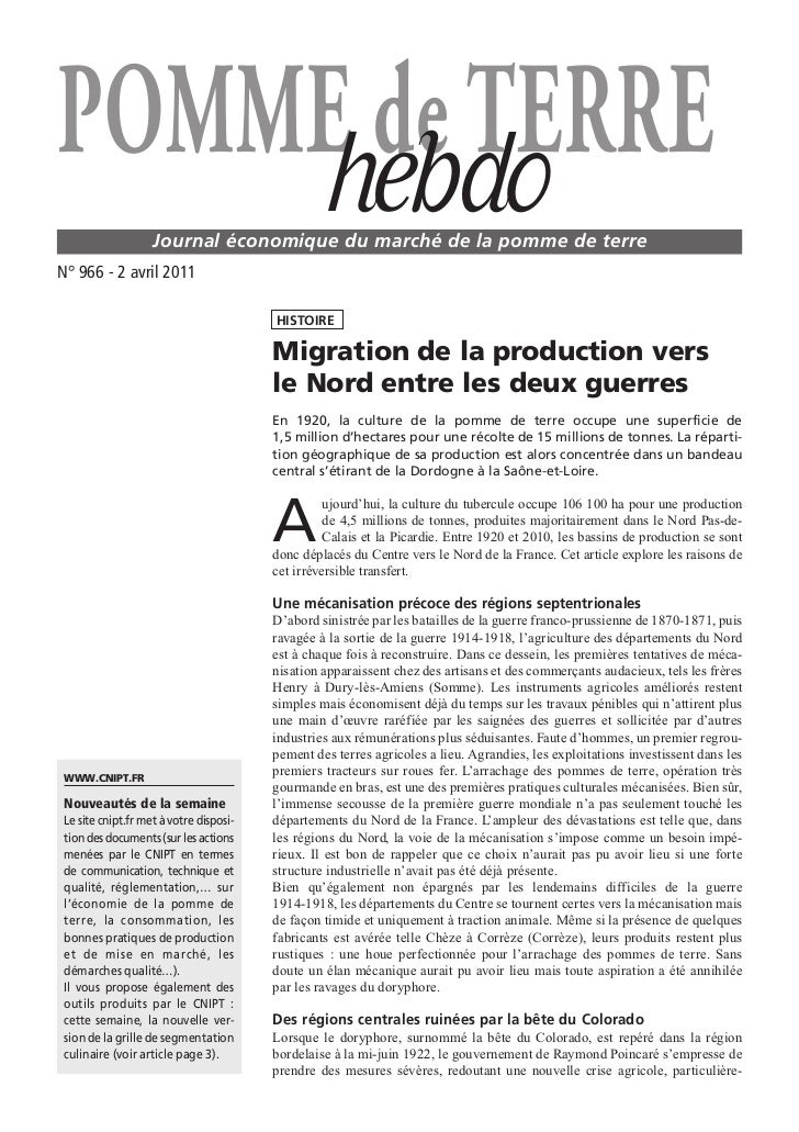 POMME de TERRE    hebdo           Journal économique du marché de la pomme de terreN° 966 - 2 avril 2011                  ...