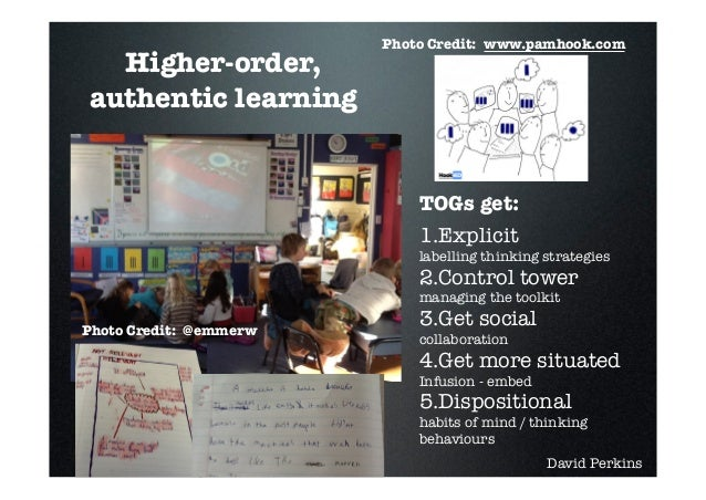 Photo Credit: www.pamhook.com  Higher-order,authentic learning                            TOGs get:                       ...