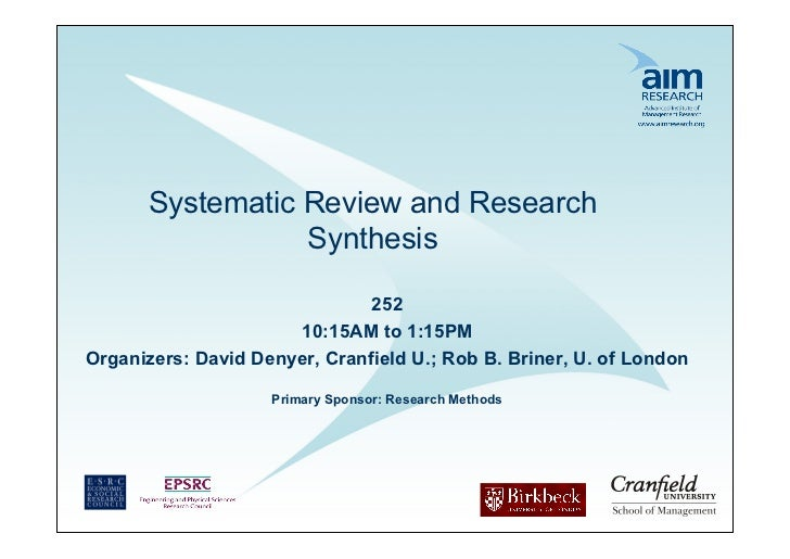 Systematic Review and Research                 Synthesis                               252                      10:15AM to...